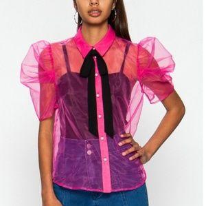 Hot Pink Sheer Top